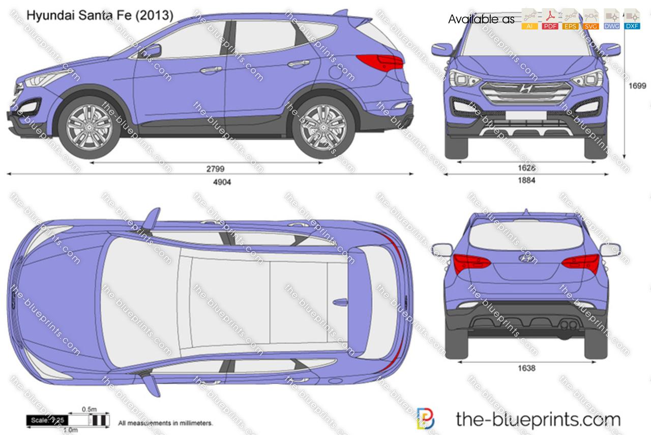 Hyundai Santa Fe Vector Drawing