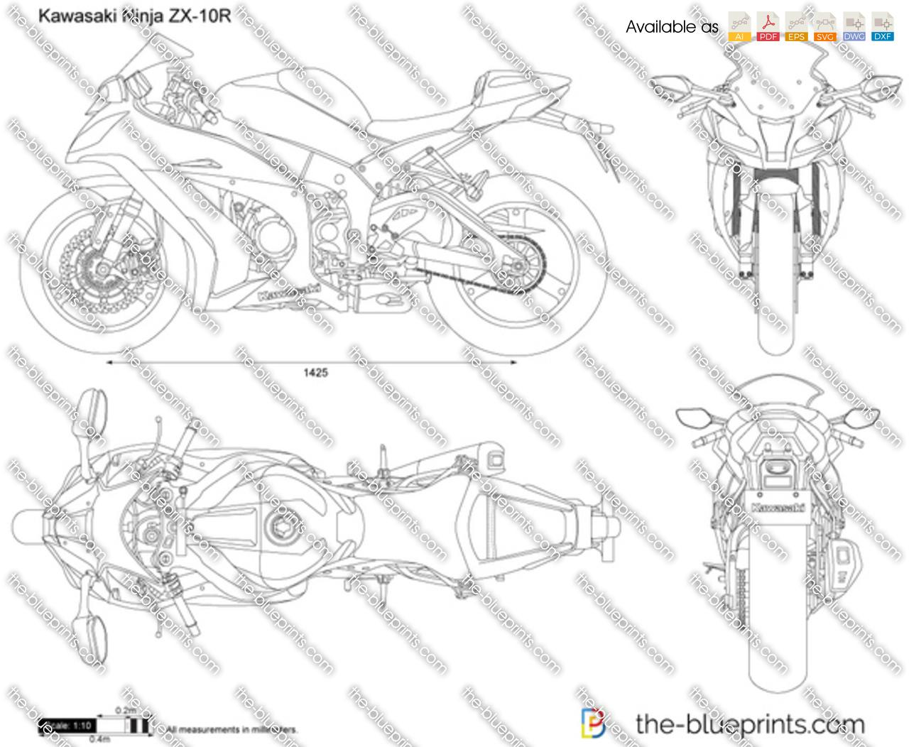 Kawasaki Ninja ZX-10R vector drawing