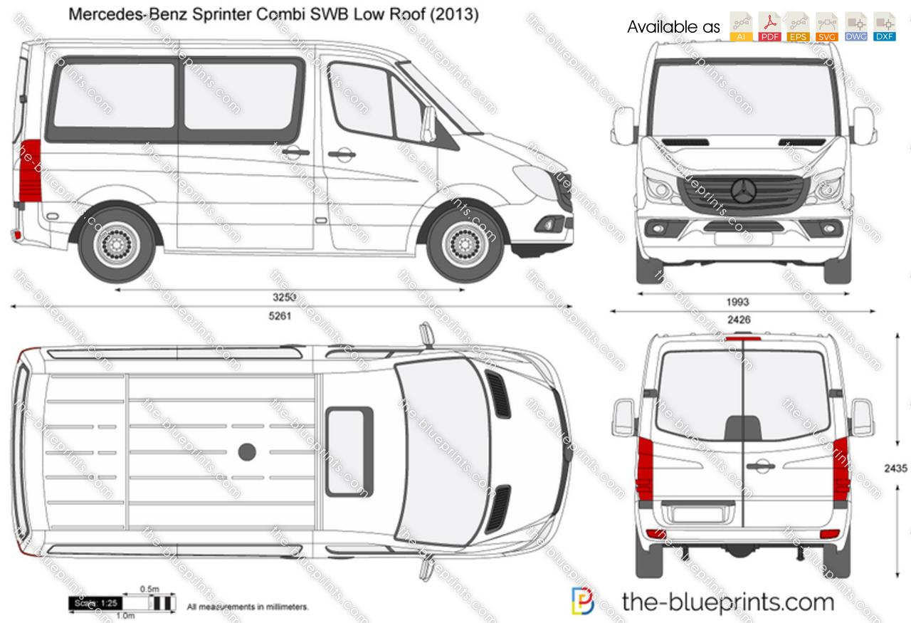 Mercedes Benz Sprinter Combi Swb Low Roof Vector Drawing