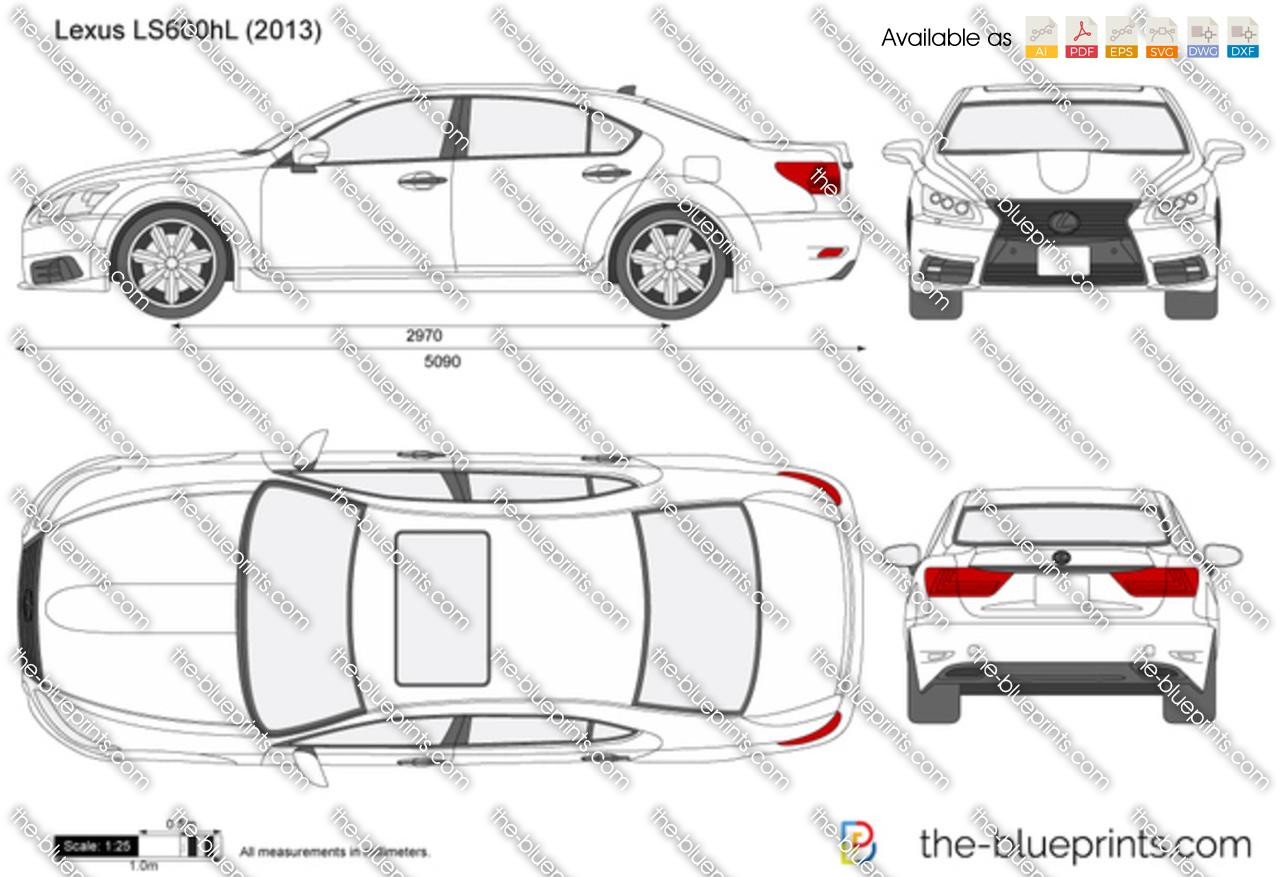 Lexus Ls600hl Vector Drawing