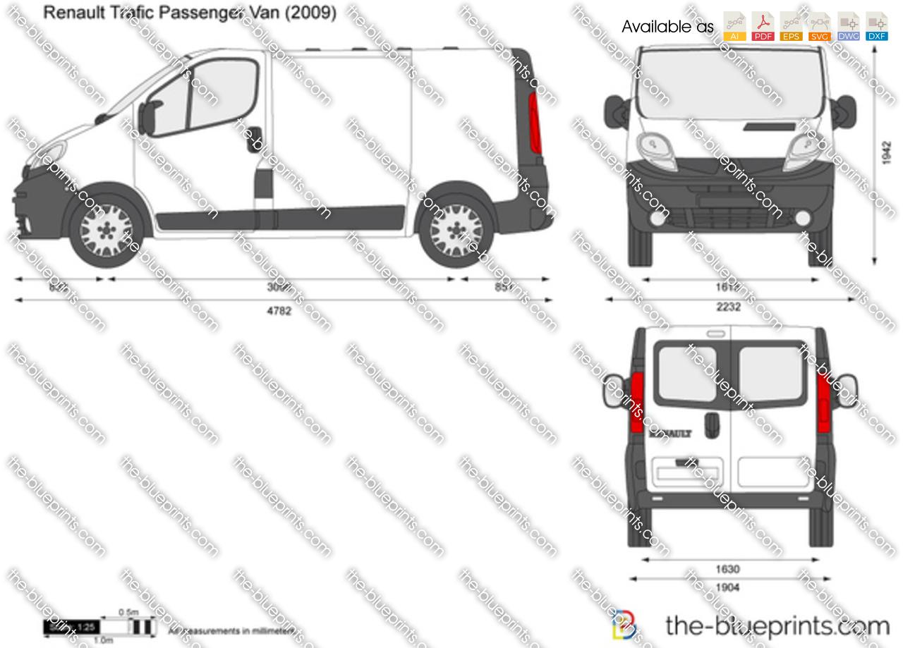 Renault Trafic Passenger Van vector drawing