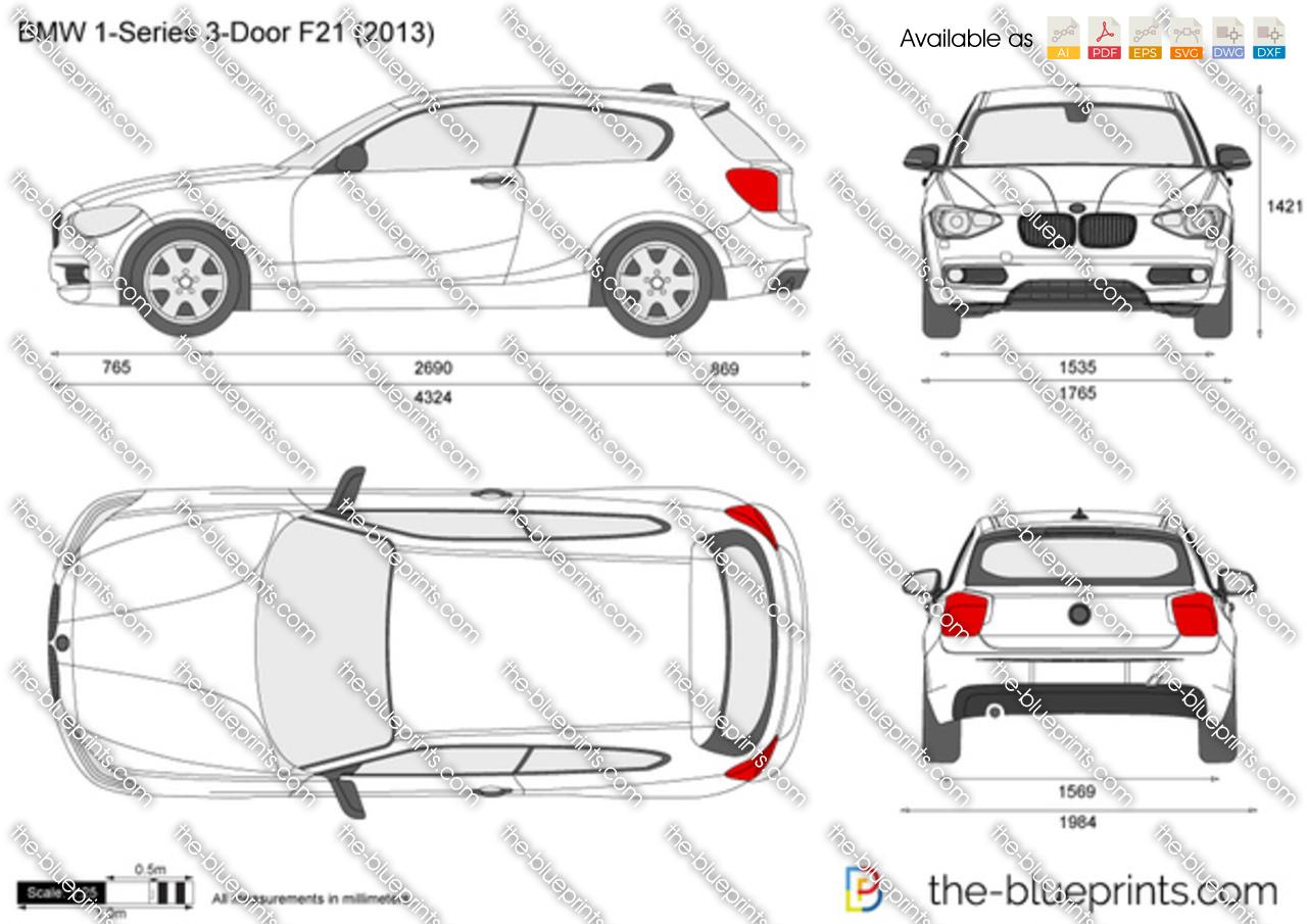 BMW 1-Series 3-Door F21 vector drawing