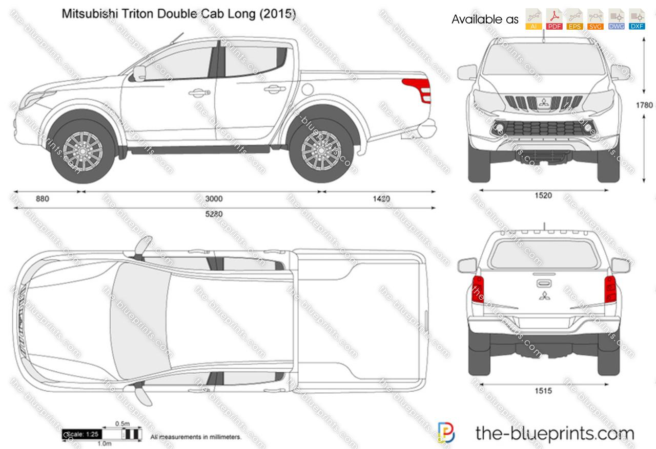 Mitsubishi L200 Double Cab Long Vector Drawing