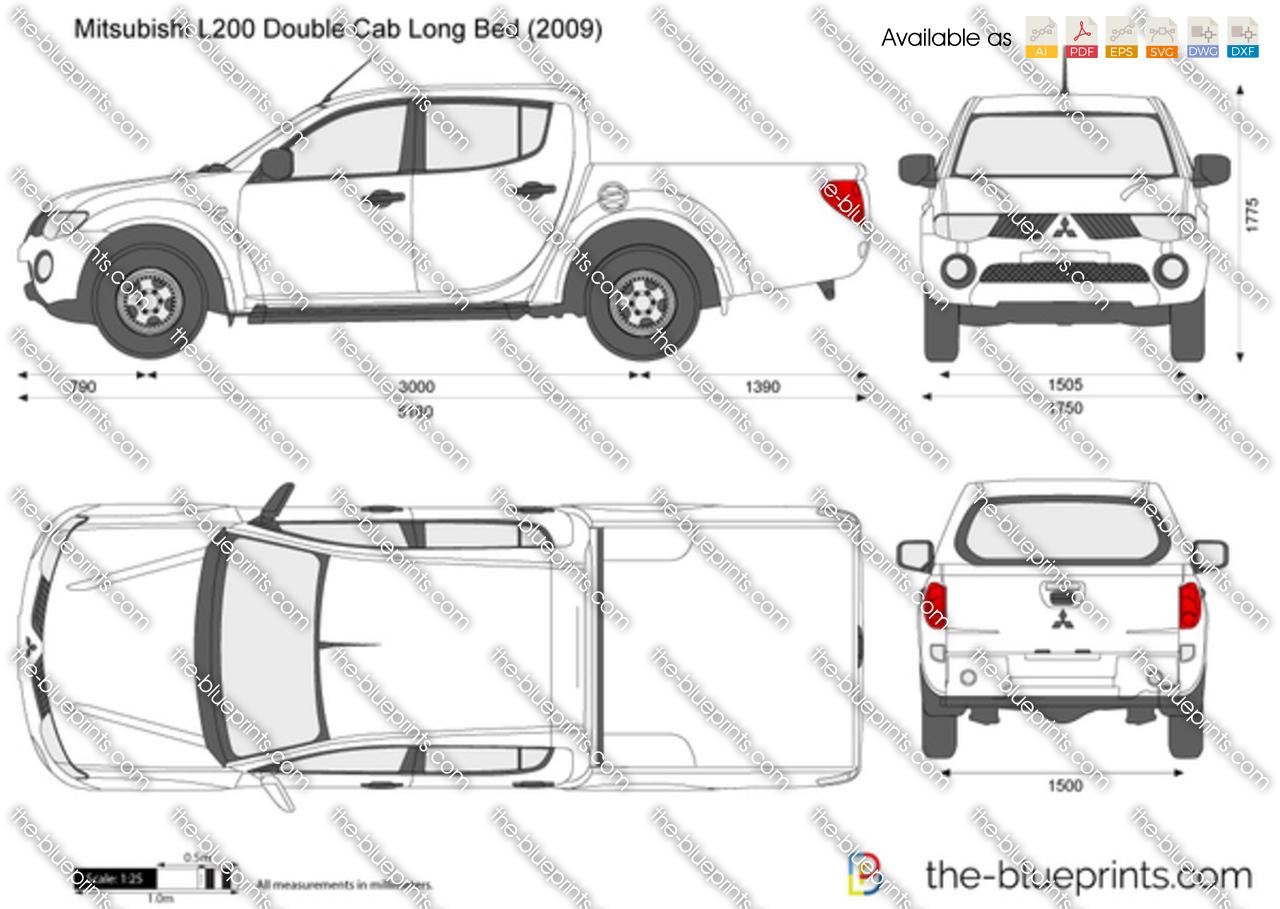 Mitsubishi L200 Double Cab Long Bed Vector Drawing