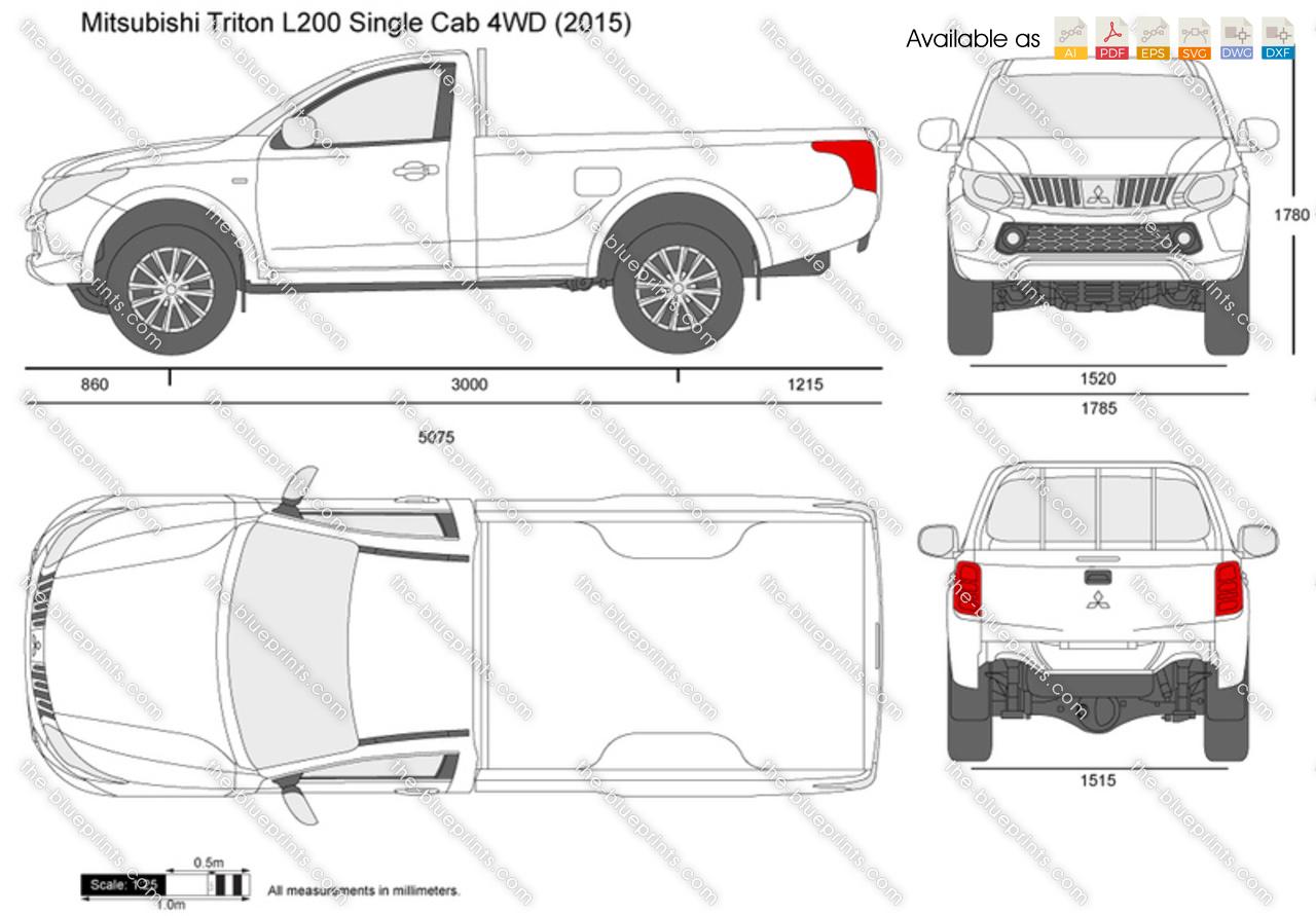 Mitsubishi Triton Single Cab 4wd Vector Drawing