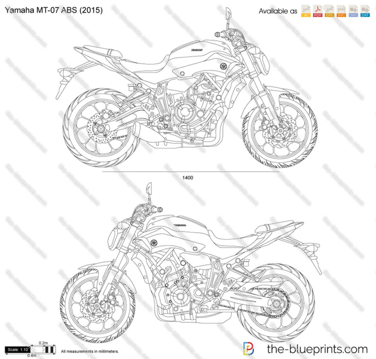 Yamaha MT-07 ABS vector drawing