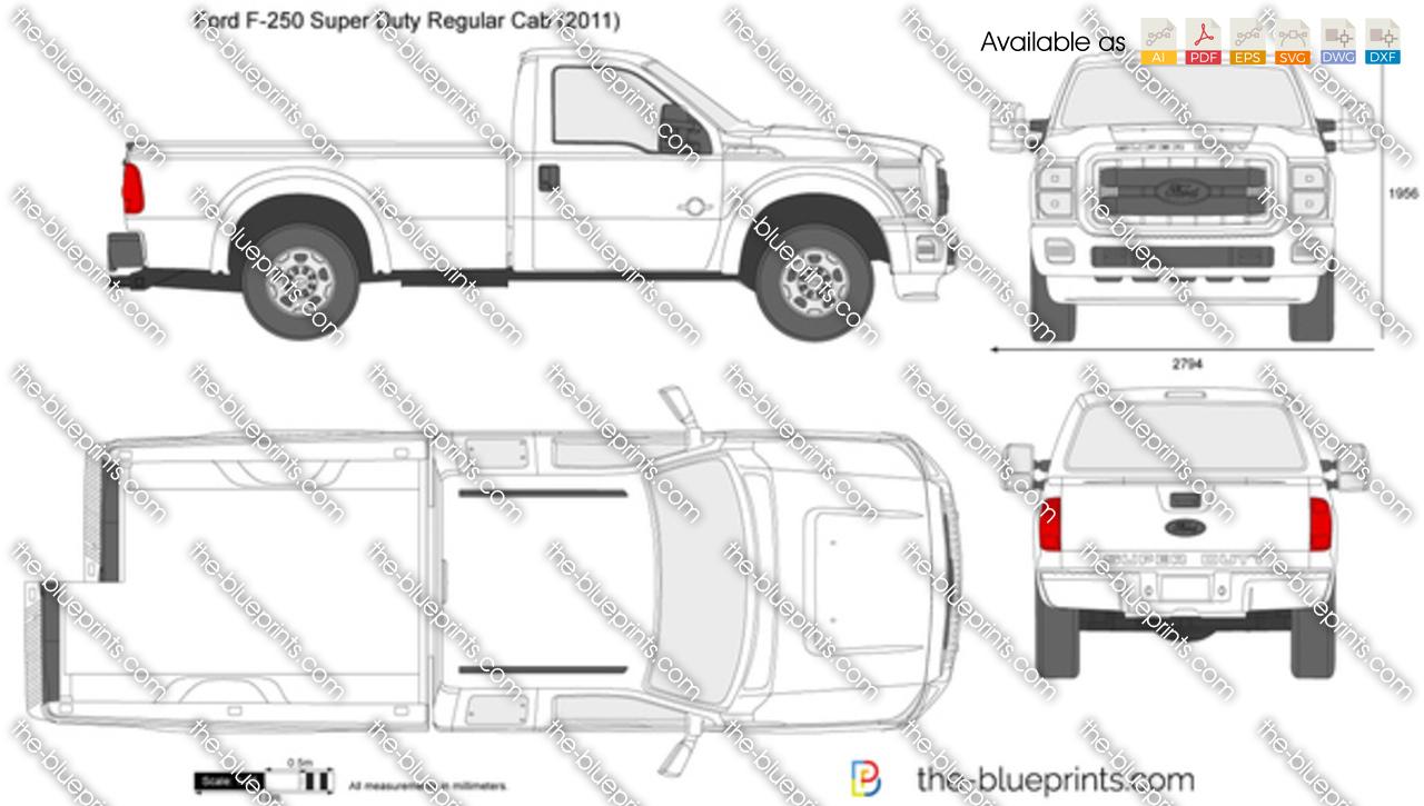 Ford F-250 Super Duty Regular Cab LWB 137' vector drawing