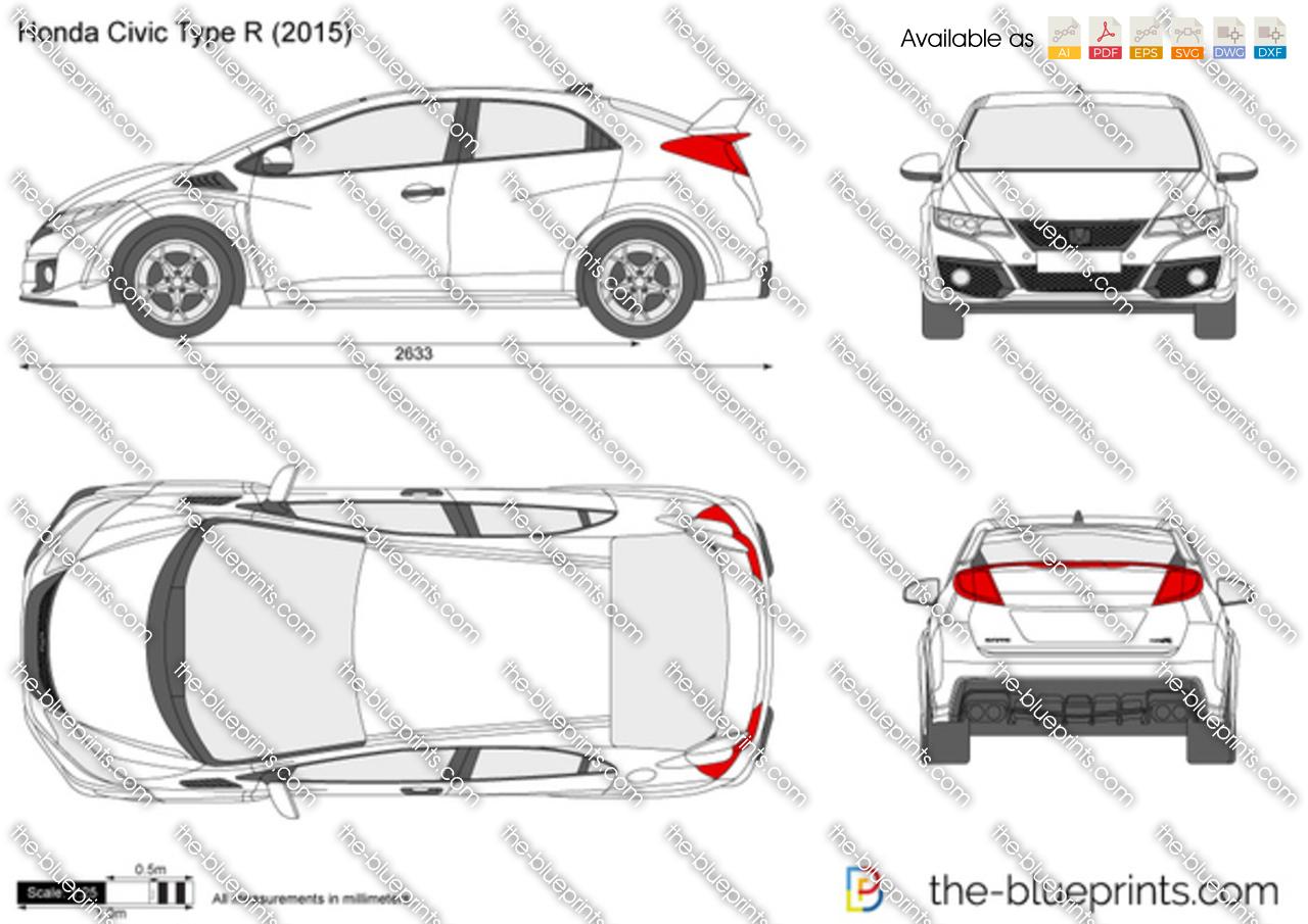 Honda Civic Type-R FK2 vector drawing