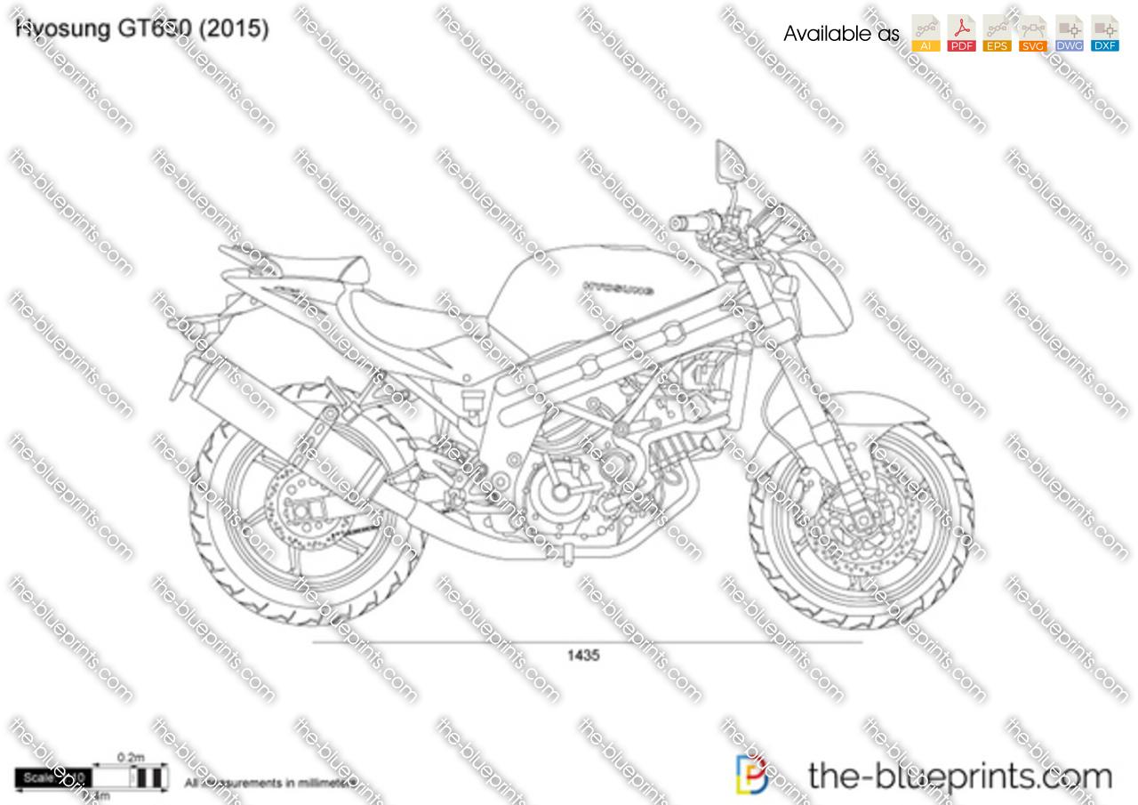 Hyosung GT650 vector drawing