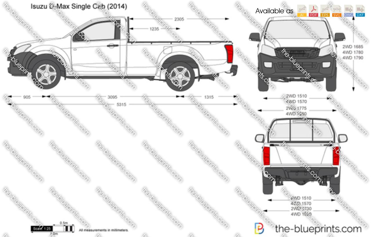 Isuzu D Max Single Cab Vector Drawing