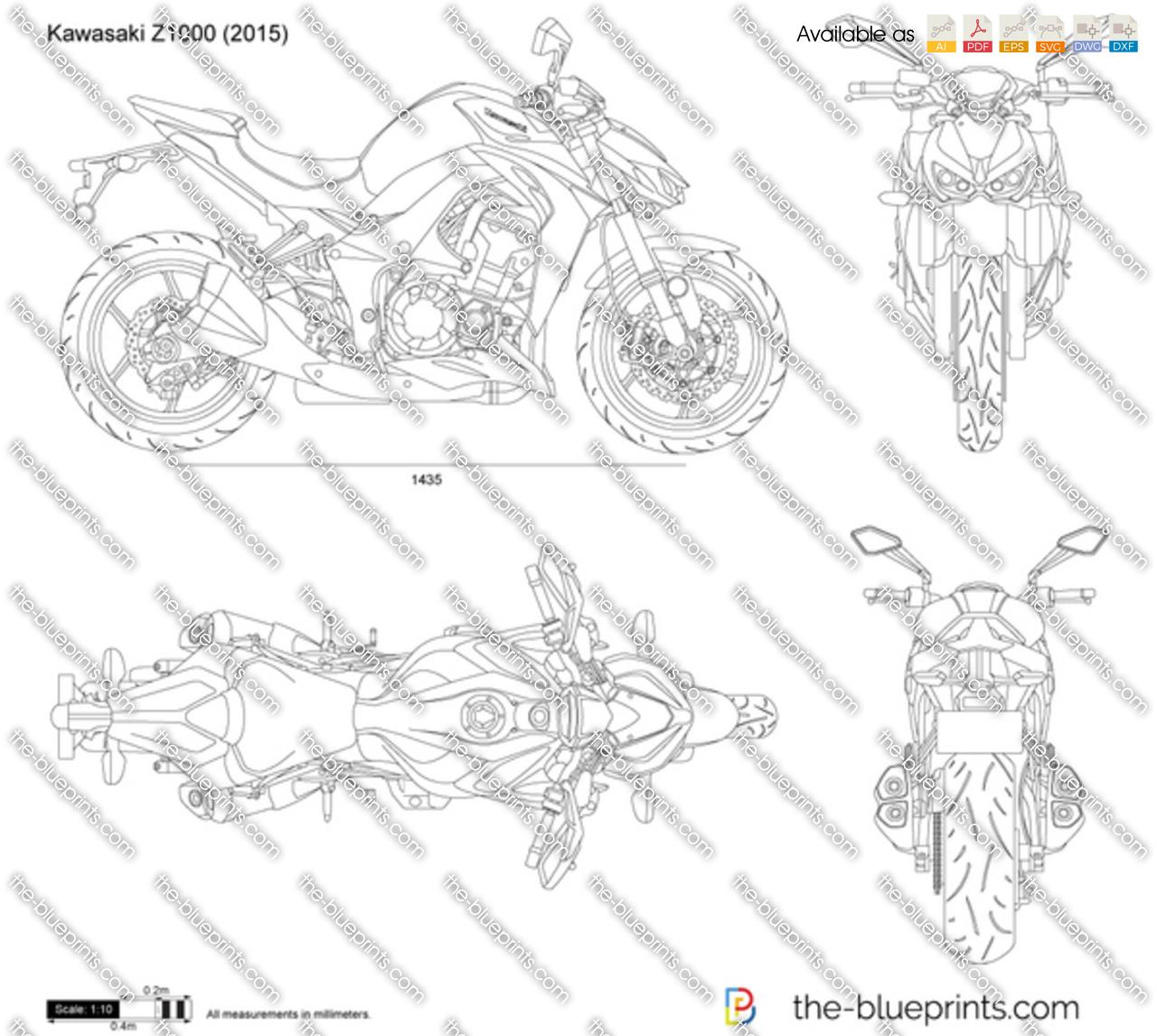 Kawasaki Z1000 vector drawing