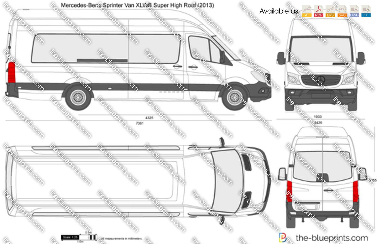 Mercedes-Benz Sprinter Van XLWB Super High Roof vector drawing