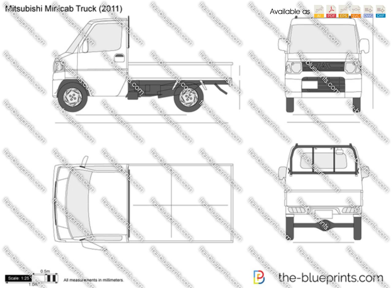 Mitsubishi Minicab Truck vector drawing