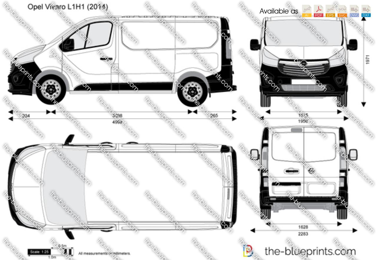 Opel Vivaro L1H1 vector drawing