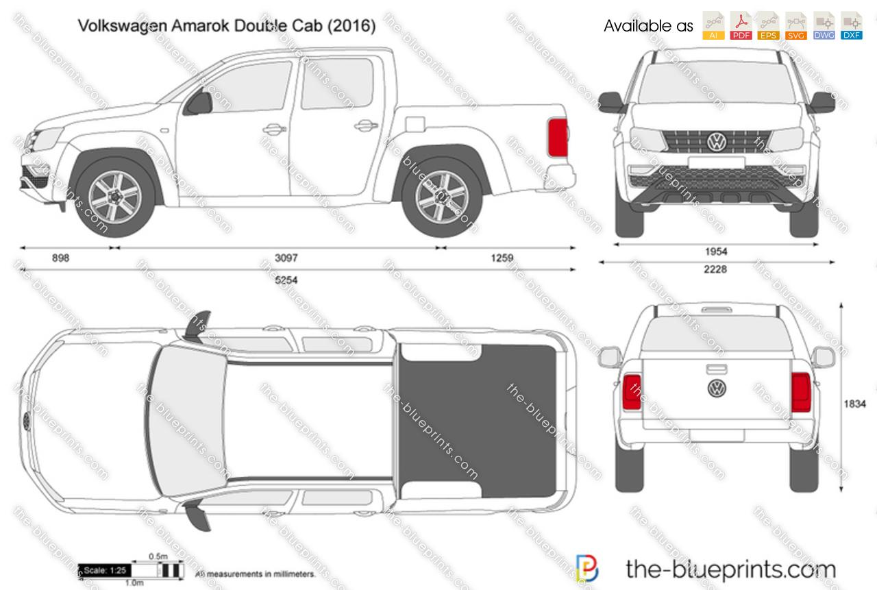 Volkswagen Amarok Double Cab Vector Drawing