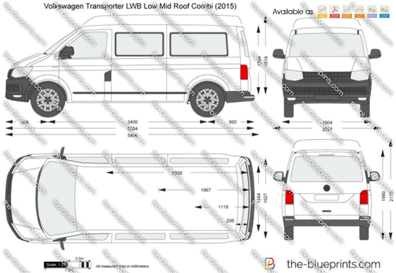 Volkswagen Transporter T6 LWB Low Mid Roof Combi vector