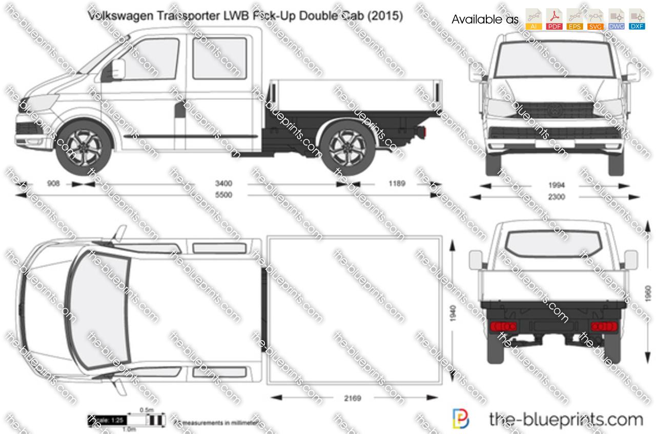 Volkswagen Transporter T6 Lwb Pick Up Double Cab Vector