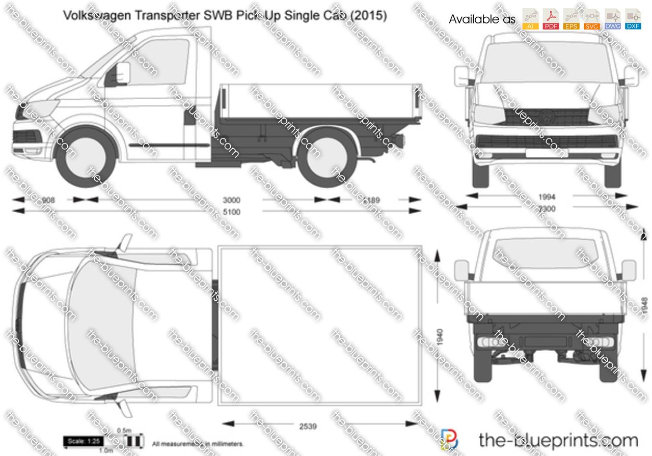 Volkswagen Transporter T6 SWB Pick-Up Single Cab vector