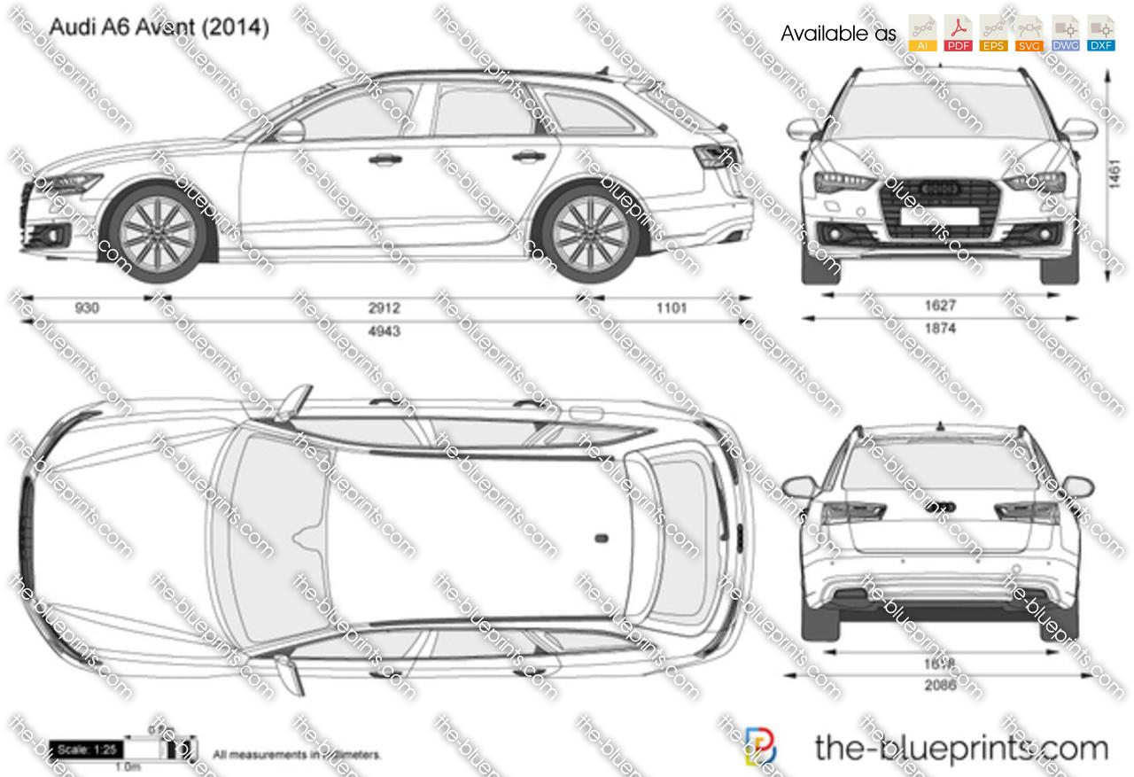 Audi A6 Avant vector drawing