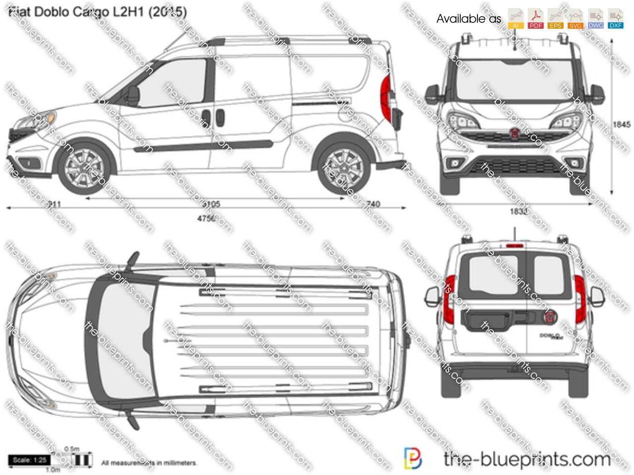 Fiat Doblo Cargo L2H1 vector drawing