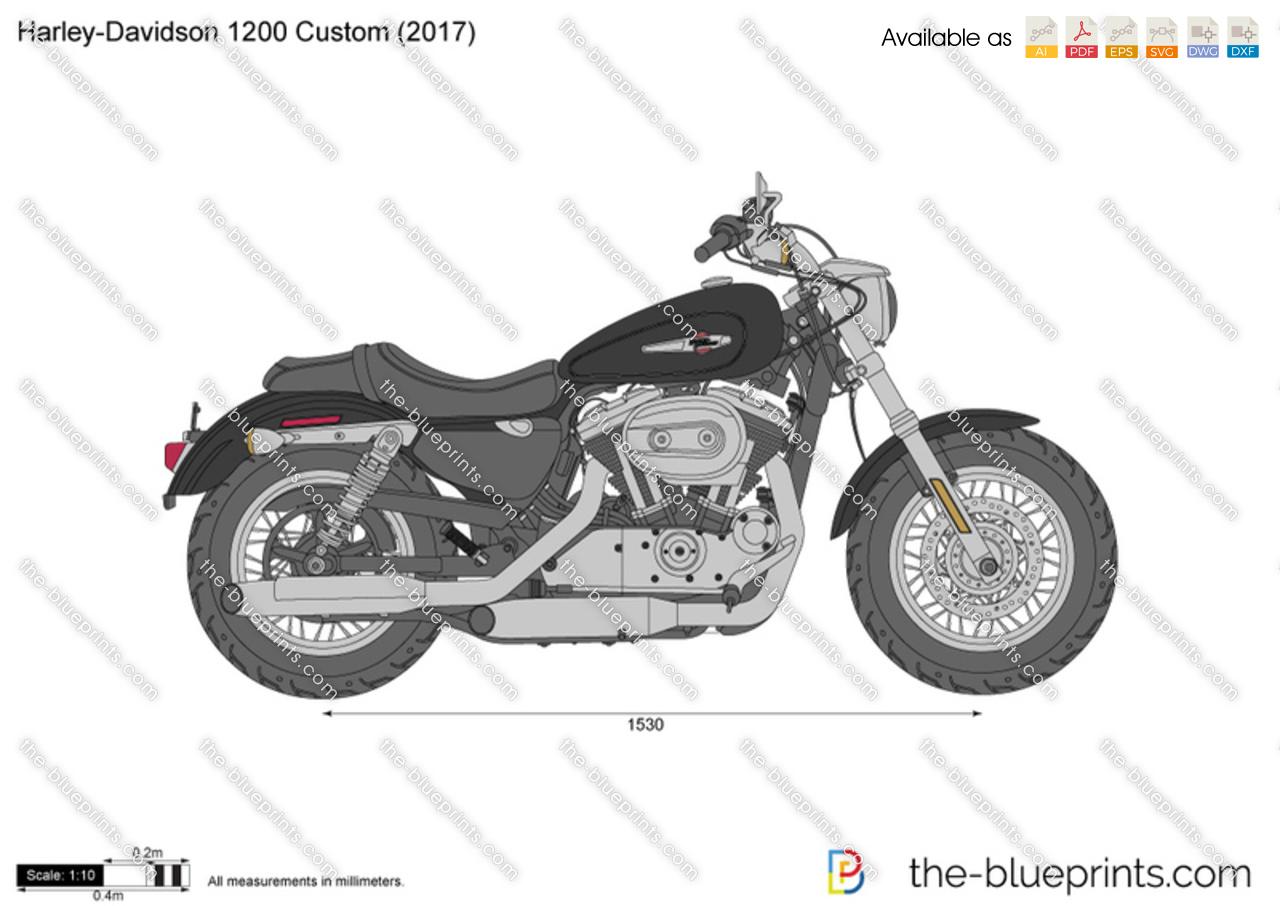 Harley-Davidson 1200 Custom vector drawing