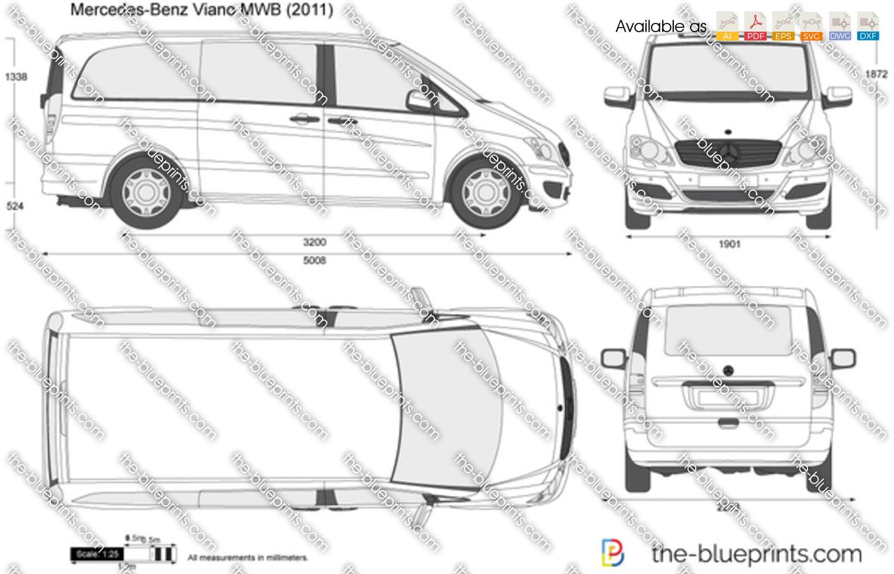 Mercedes-Benz Viano MWB vector drawing