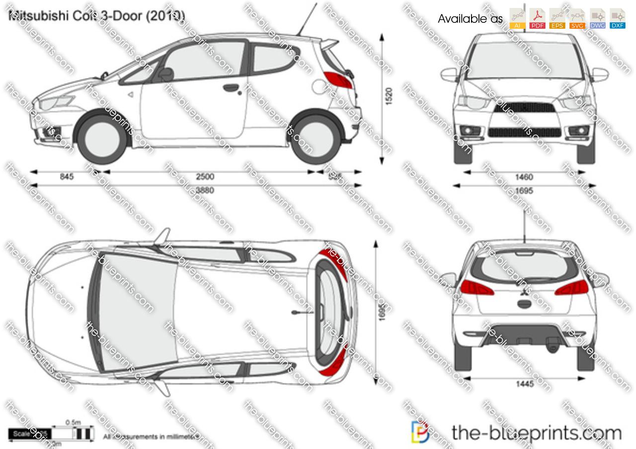 Mitsubishi Colt 3 Door Vector Drawing