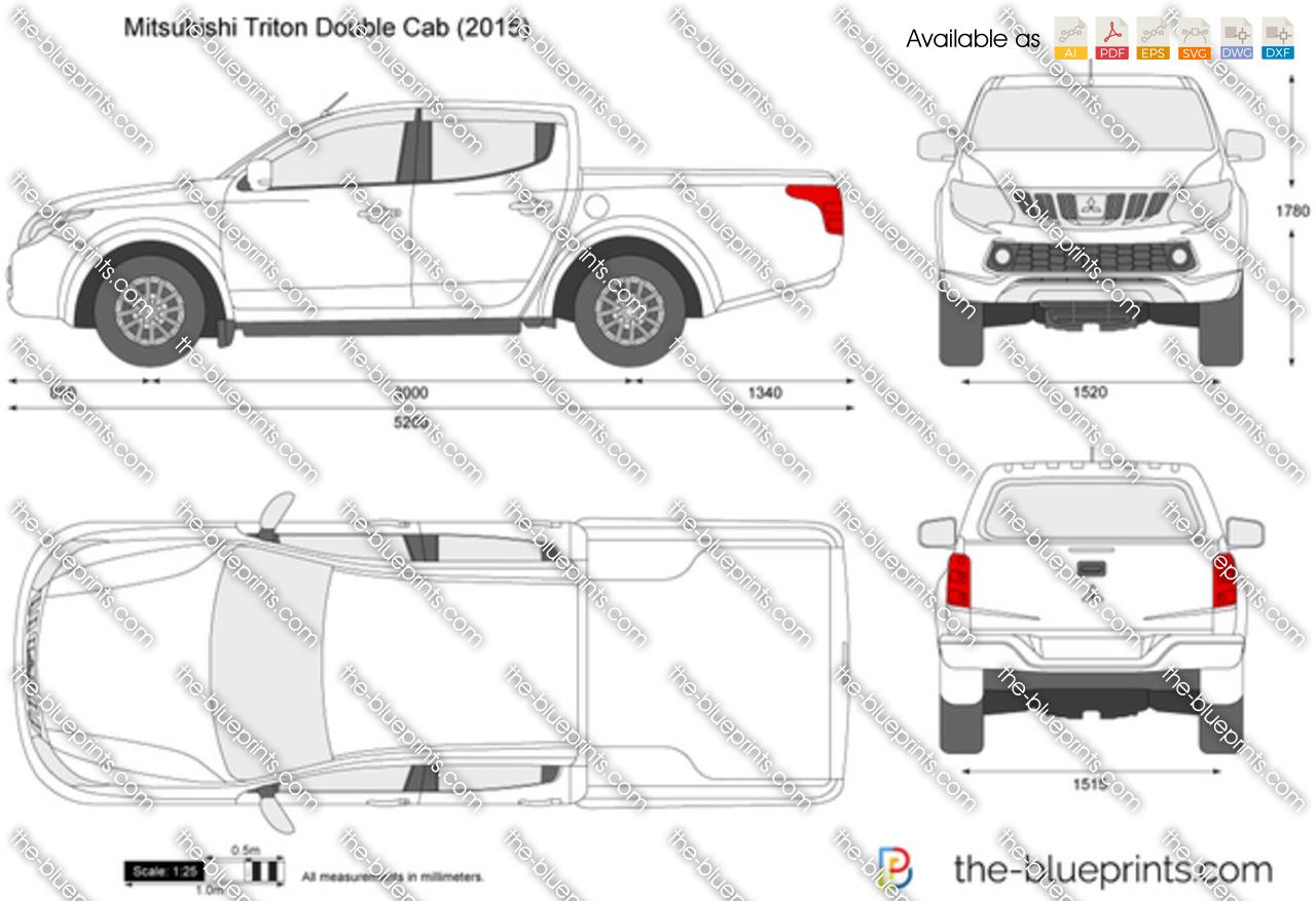 Mitsubishi Triton Double Cab Vector Drawing