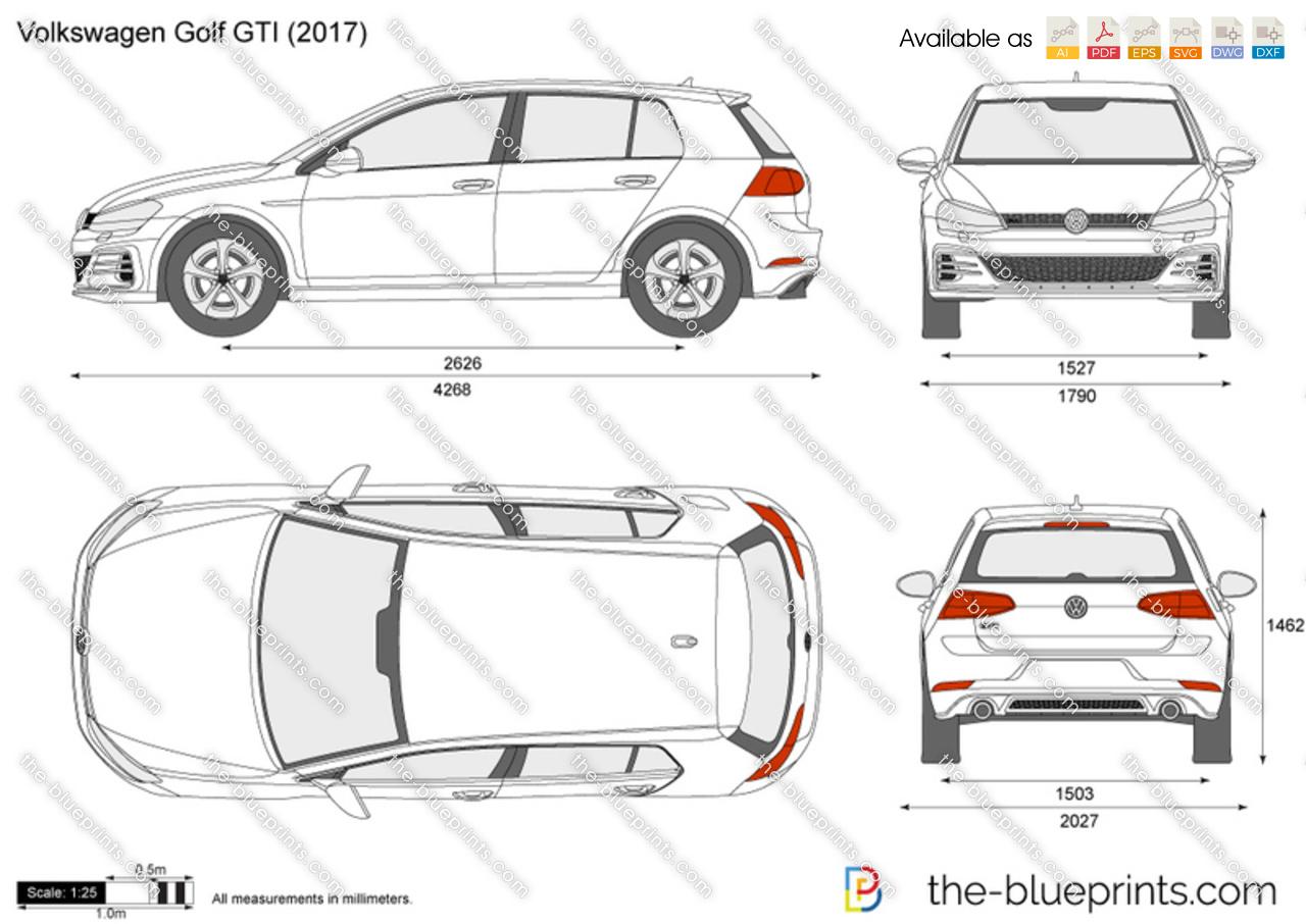 Volkswagen Golf Gti Vector Drawing