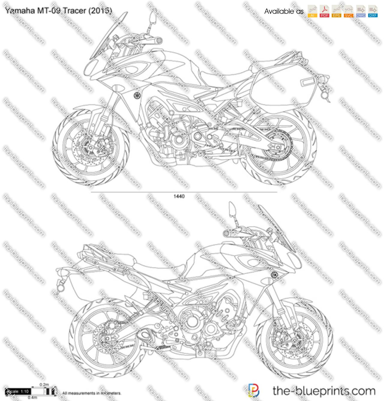 Yamaha MT-09 Tracer vector drawing