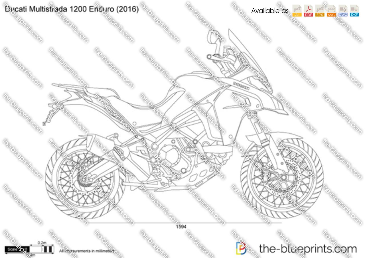 Ducati Multistrada 1200 Enduro vector drawing