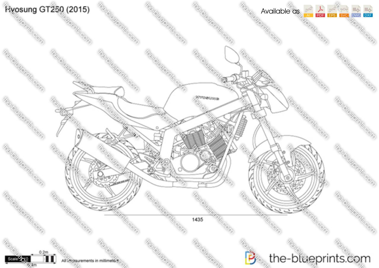 Hyosung GT250 vector drawing