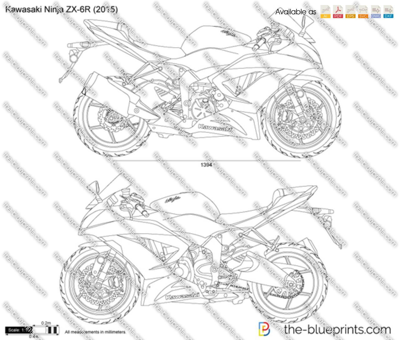 Kawasaki Ninja ZX-6R vector drawing