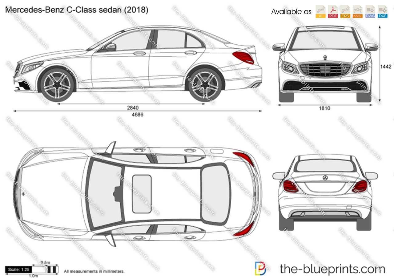 Mercedes-Benz C-Class Sedan W205 vector drawing