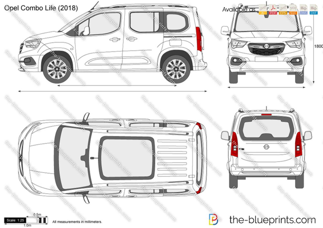 Opel Combo Life vector drawing