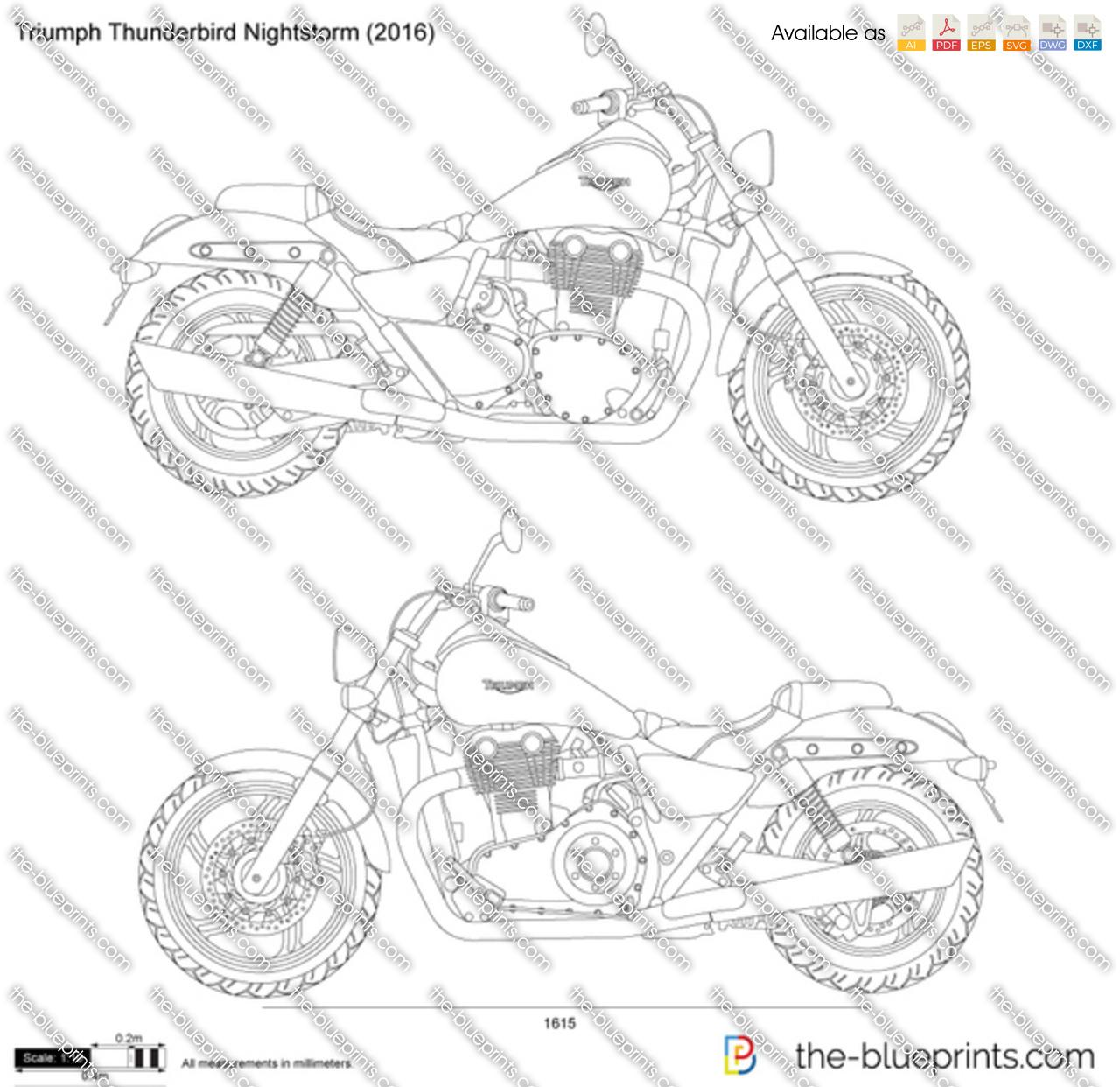 Triumph Thunderbird Nightstorm vector drawing