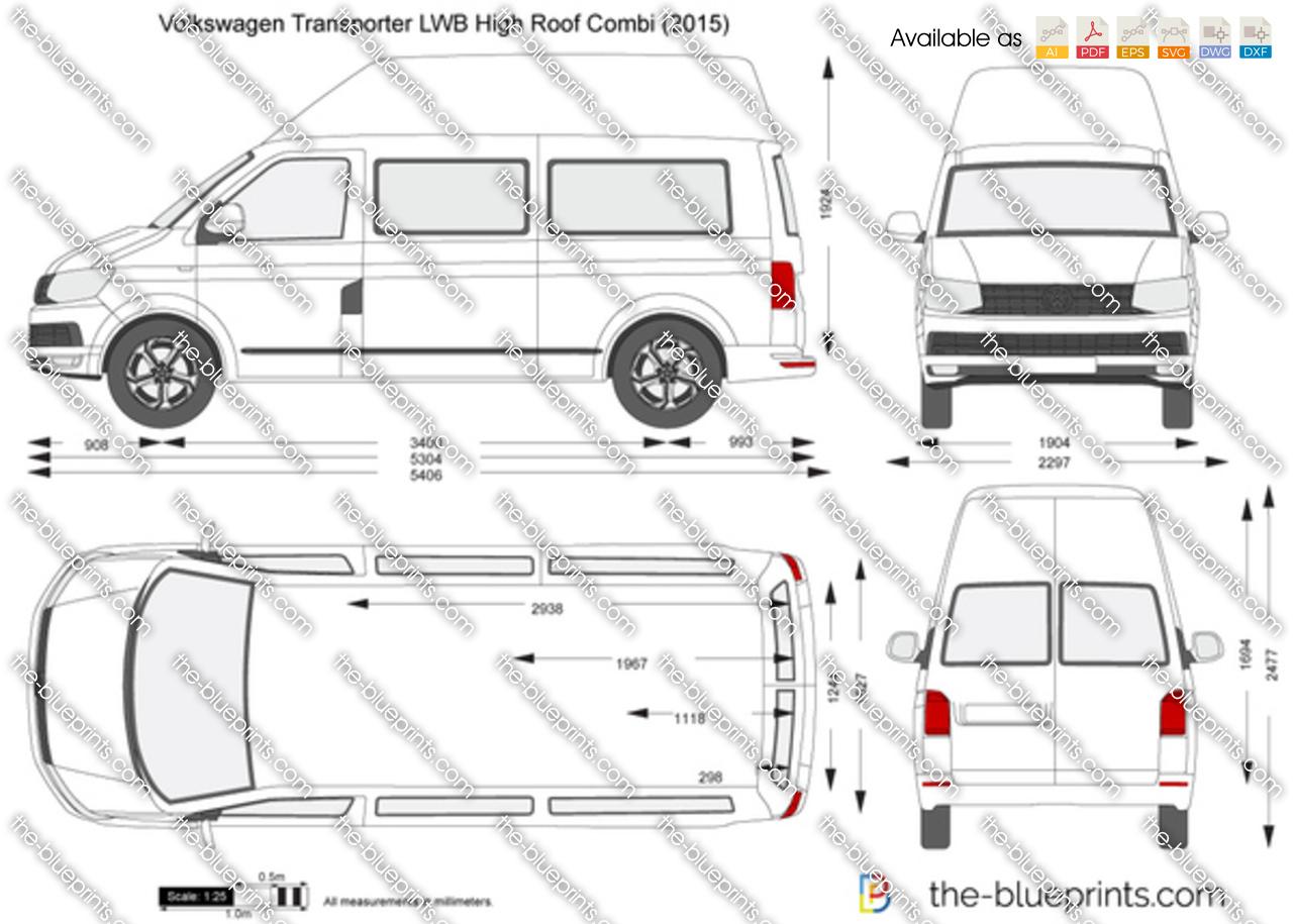 Volkswagen Transporter T6 LWB High Roof Combi vector drawing
