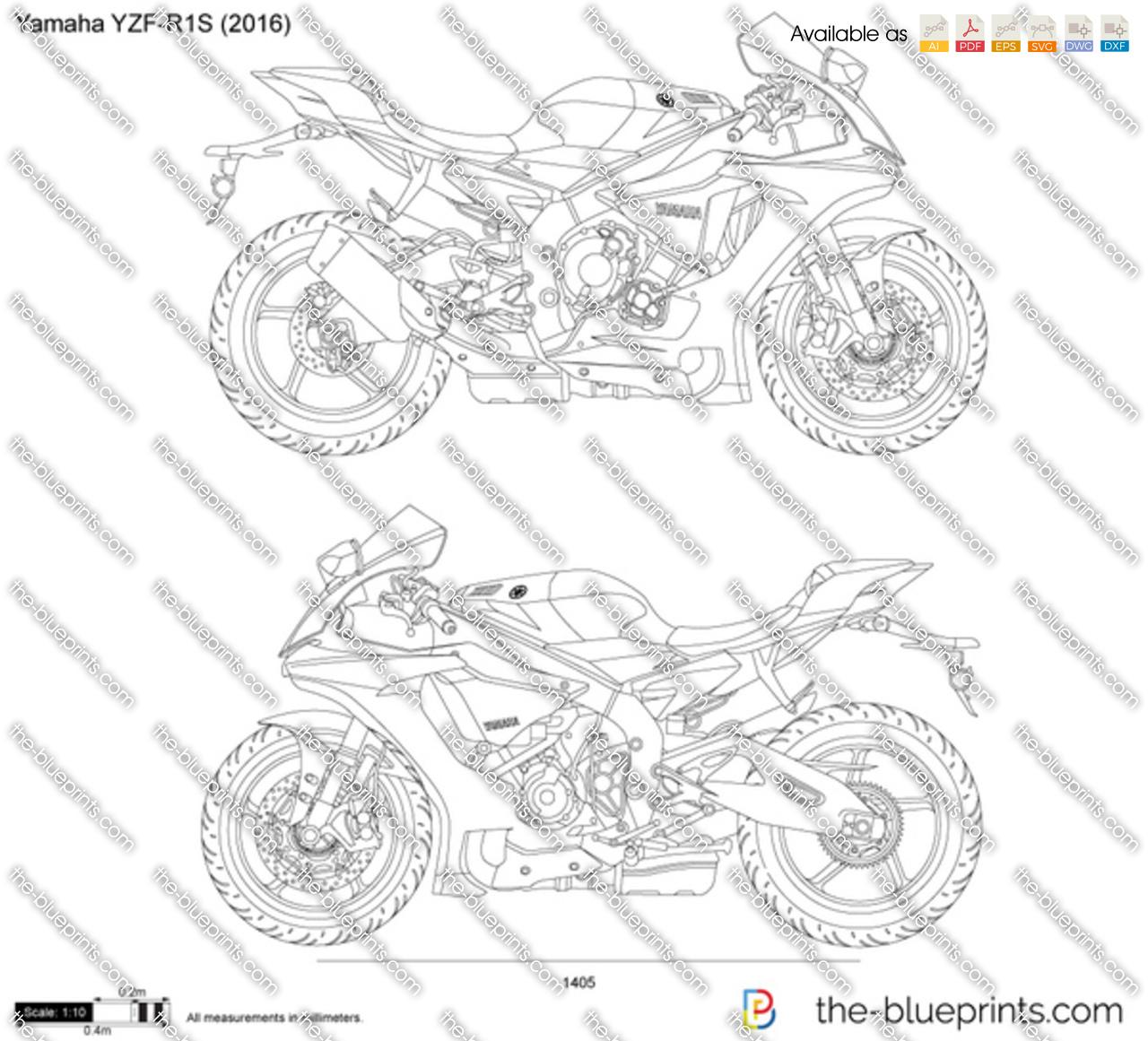 Yamaha YZF-R1S vector drawing
