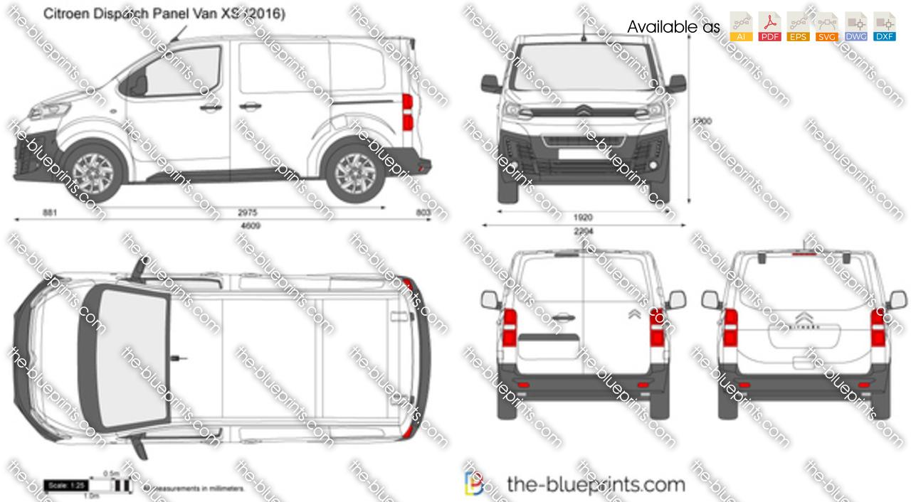 Citroen Dispatch Panel Van XS vector drawing