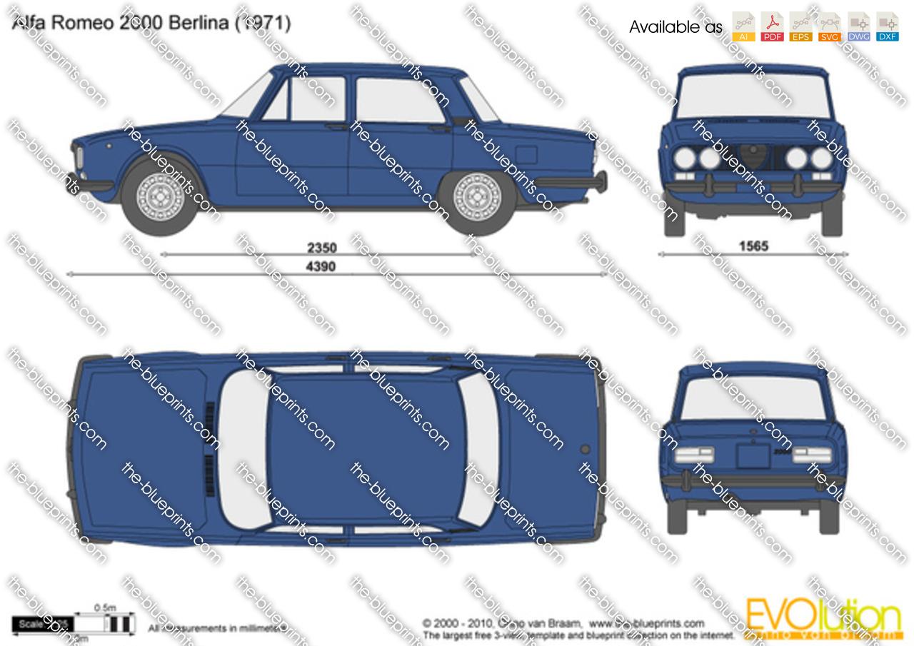 Alfa Romeo 2000 Berlina vector drawing