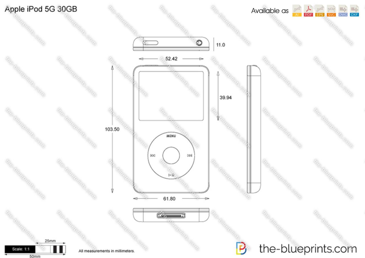 Apple iPod 5G 30GB vector drawing