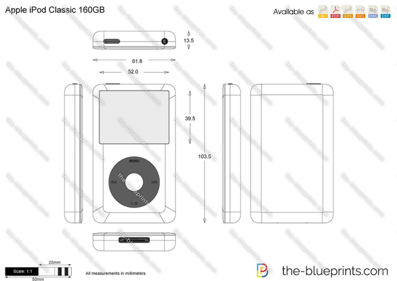 Apple iPod Classic 160GB vector drawing