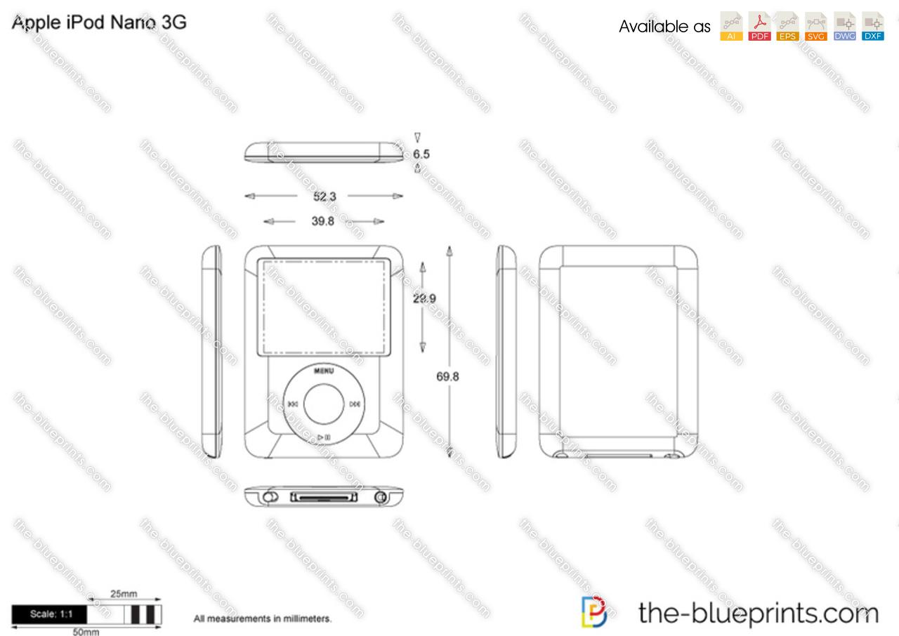Apple iPod Nano 3G vector drawing