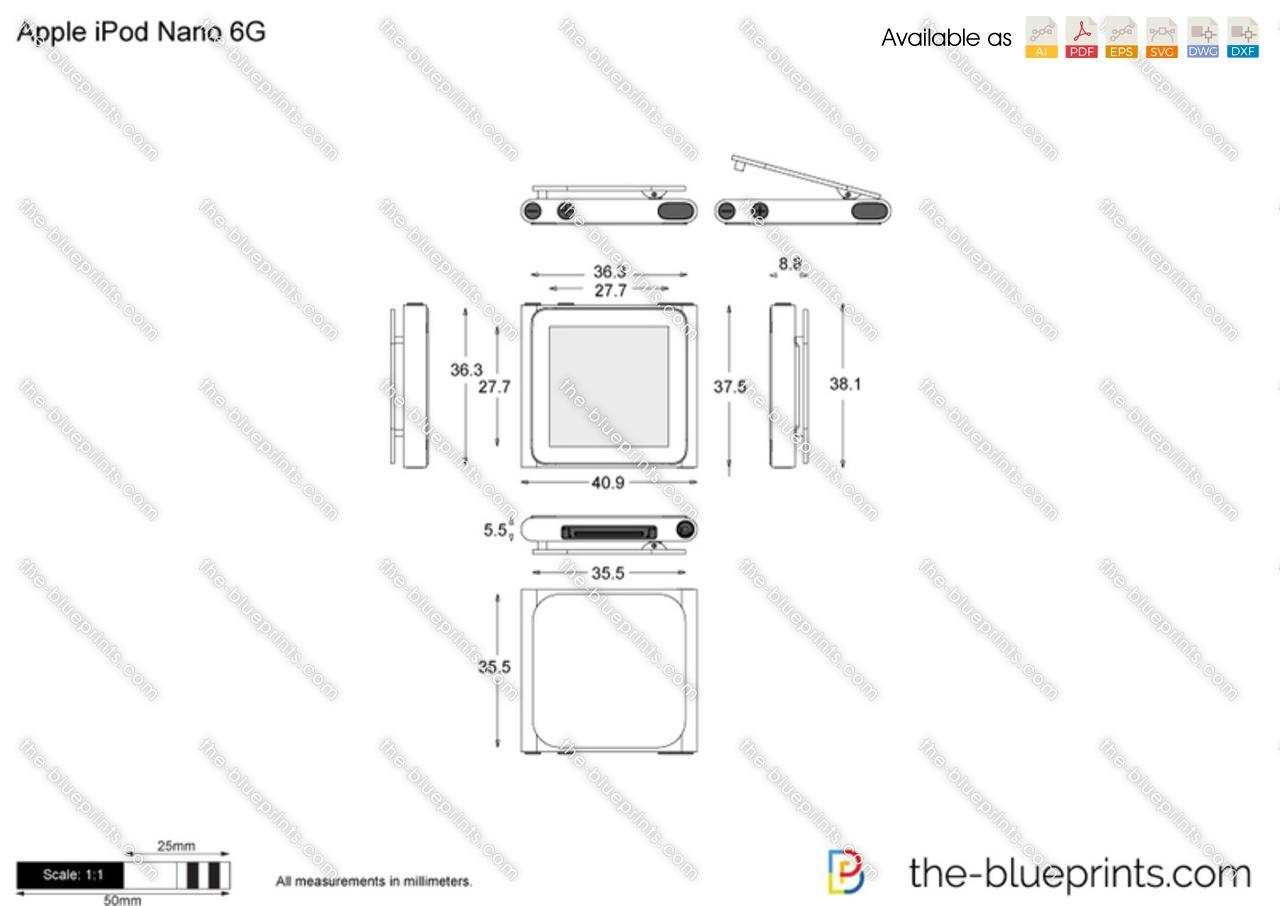 Apple iPod Nano 6G vector drawing