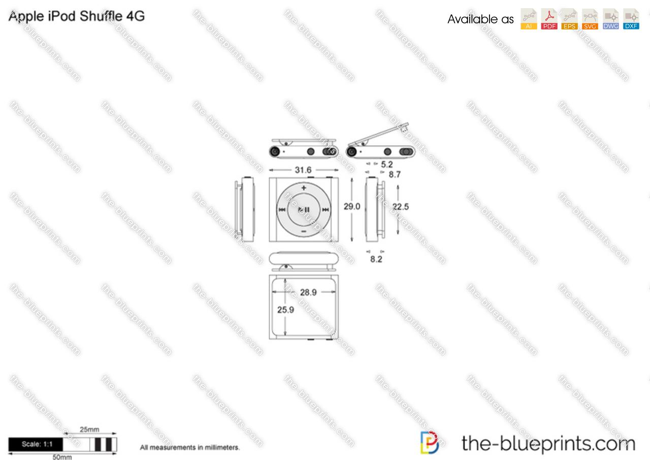 Apple iPod Shuffle 4G vector drawing