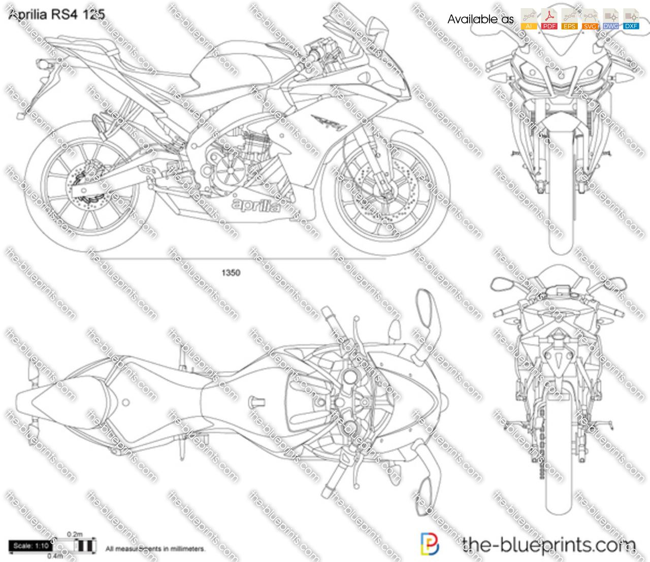 Aprilia RS4 125 vector drawing