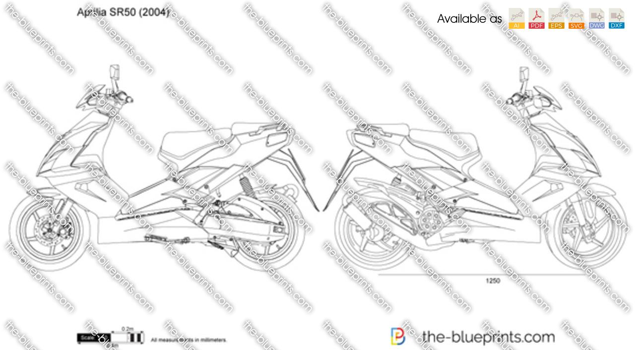 Aprilia SR50 vector drawing