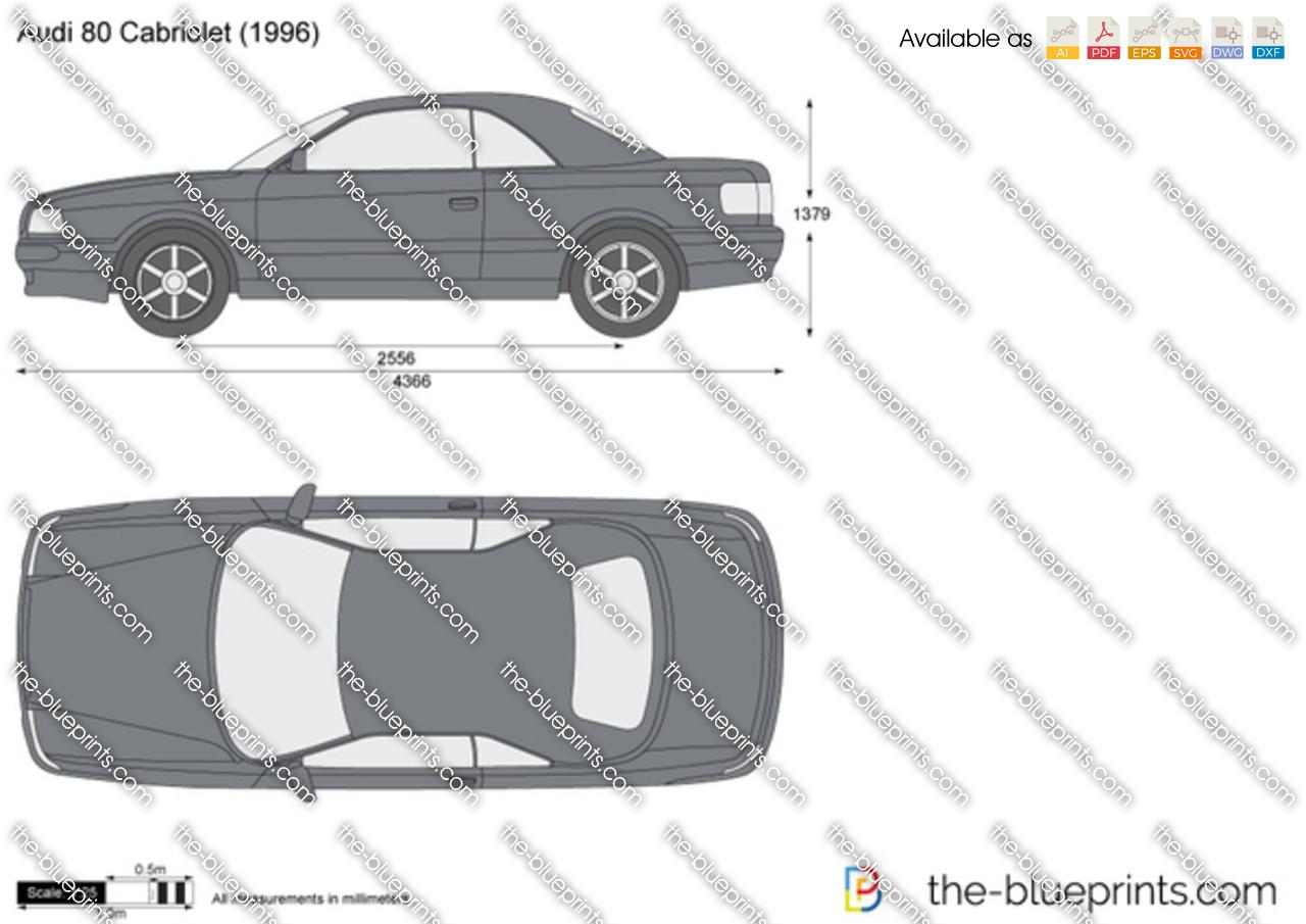 Audi 80 Cabriolet Vector Drawing