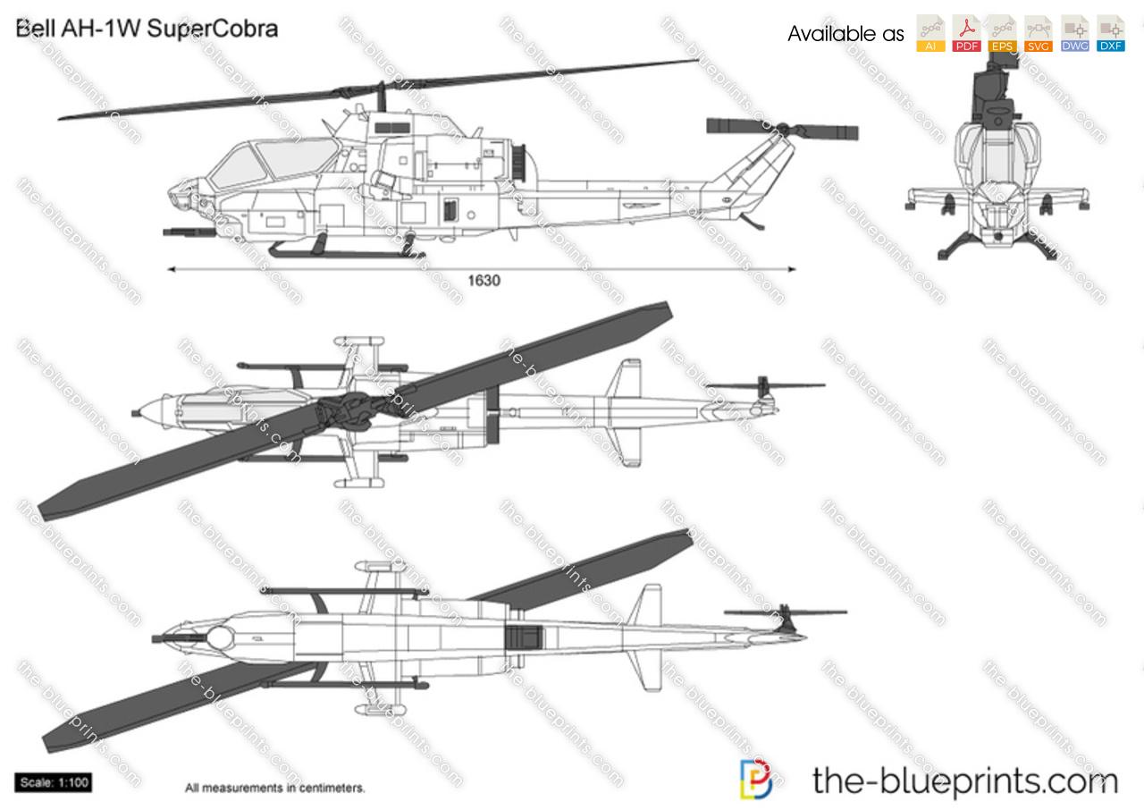 Bell Ah 1w Supercobra Vector Drawing
