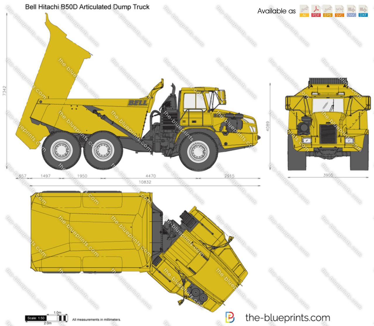 hight resolution of bell hitachi b50d articulated dump truck